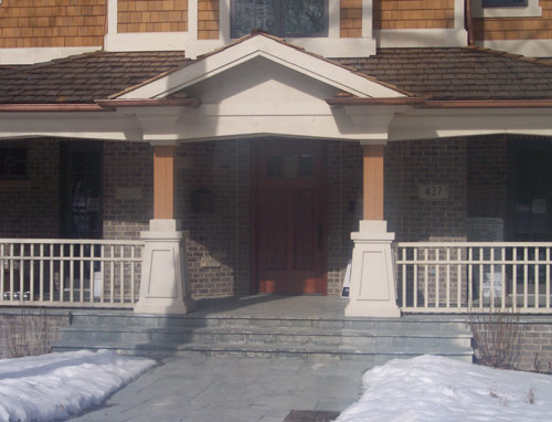 Entrance with wood porch, base rectangle