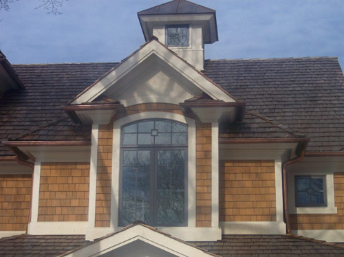 Exterior trim work with cedar shake